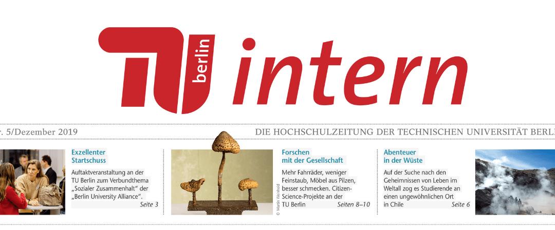 """Klara Wenzel in der aktuellen Ausgabe der """"TU intern"""""""